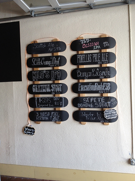 Beer Skateboard Menu